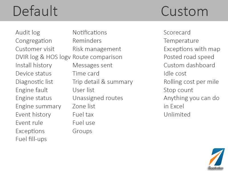 Custom Fleet Management Reports for BI