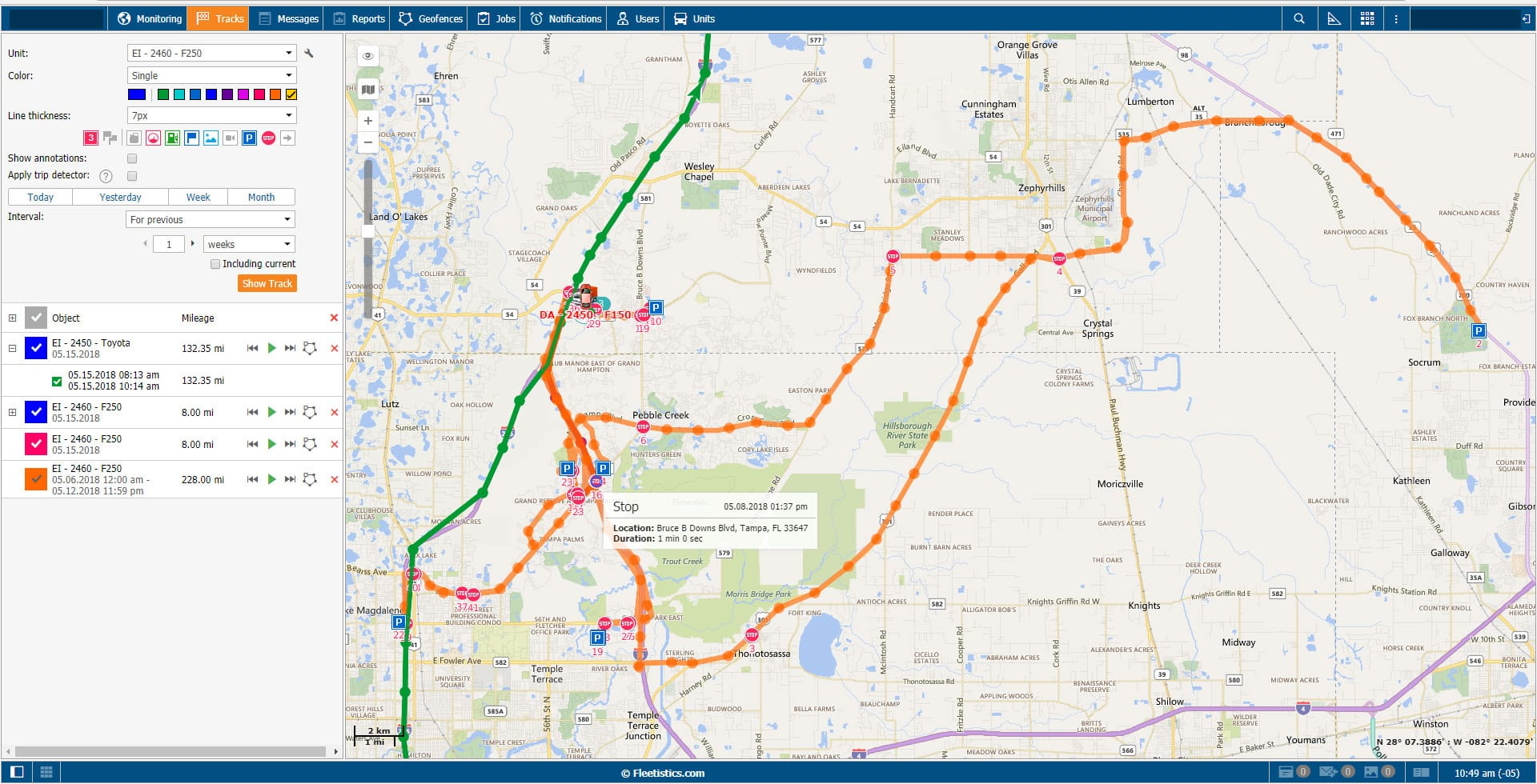 Route Map for GPS Tracker