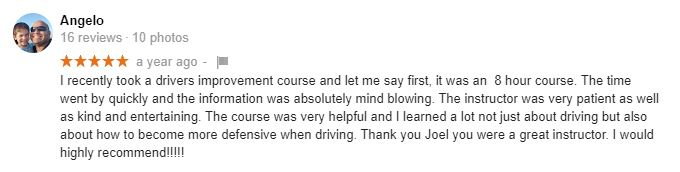 Driver Safety Training testimonial