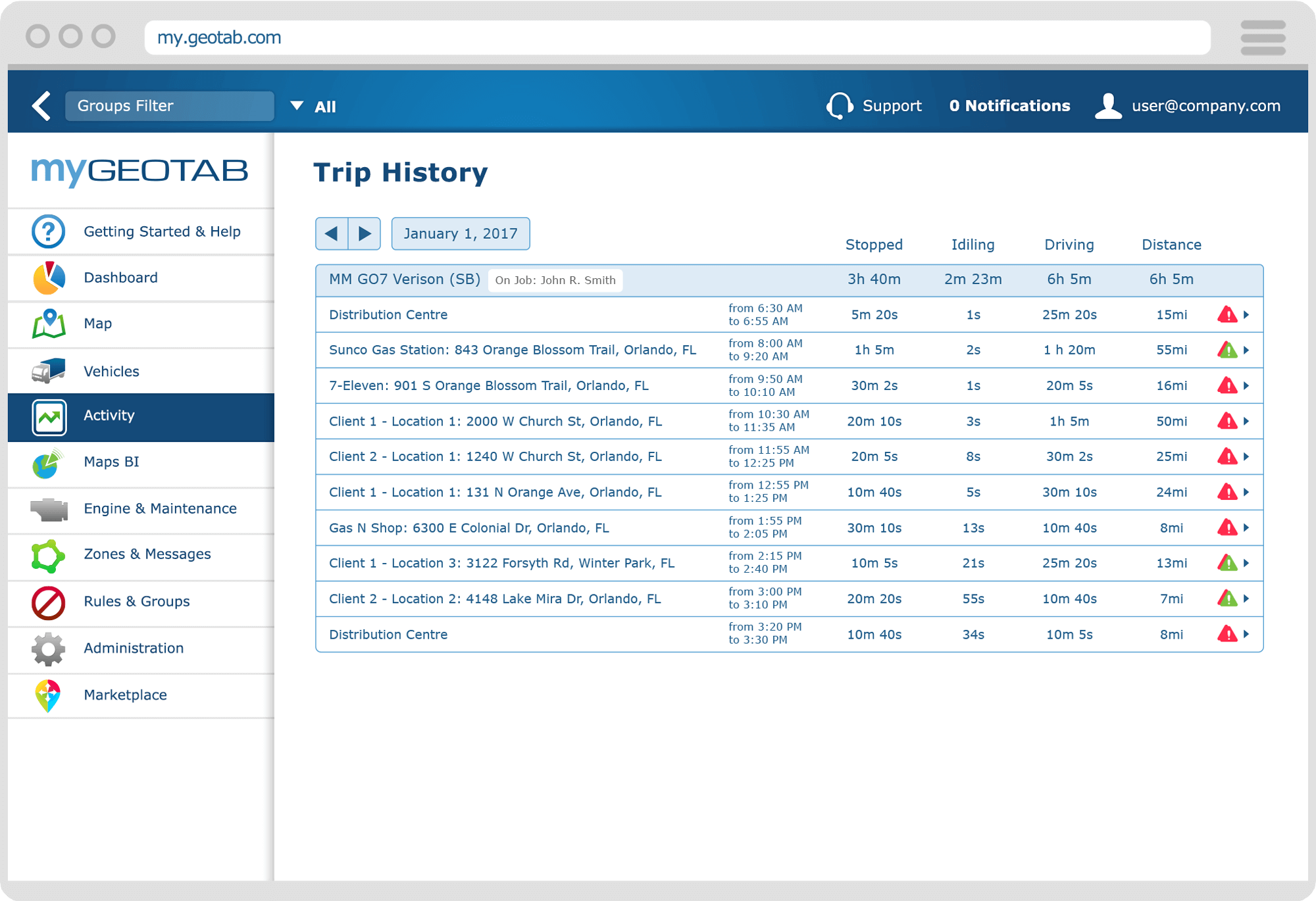 Geotab trip-and-activity-management